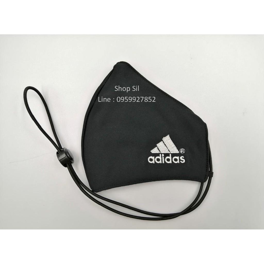 หน้ากากผ้า หน้ากากปิดจมูก ผ้าปิดจมูก adidasสีดำ มีสาย
