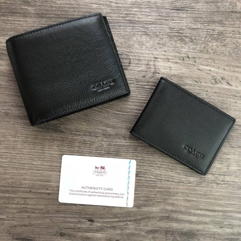 ◑✙❂COACH_Compact ID Wallet in Sport Calf Leather กระเป๋าสตางค์ใบสั้น มาพร้อมกระเป๋าใส่บัตรใบเล็กอีก 1 ใบ จะมอบเป็นของขว