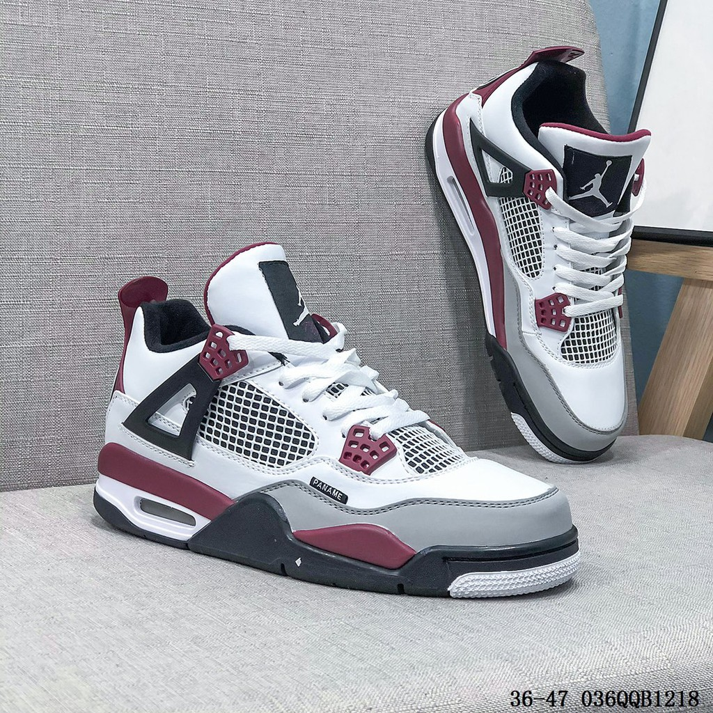 รองเท้าผ้าใบ Air Jordan 4 Retro Psg Aj 4 Joe 4 สีขาวม่วง