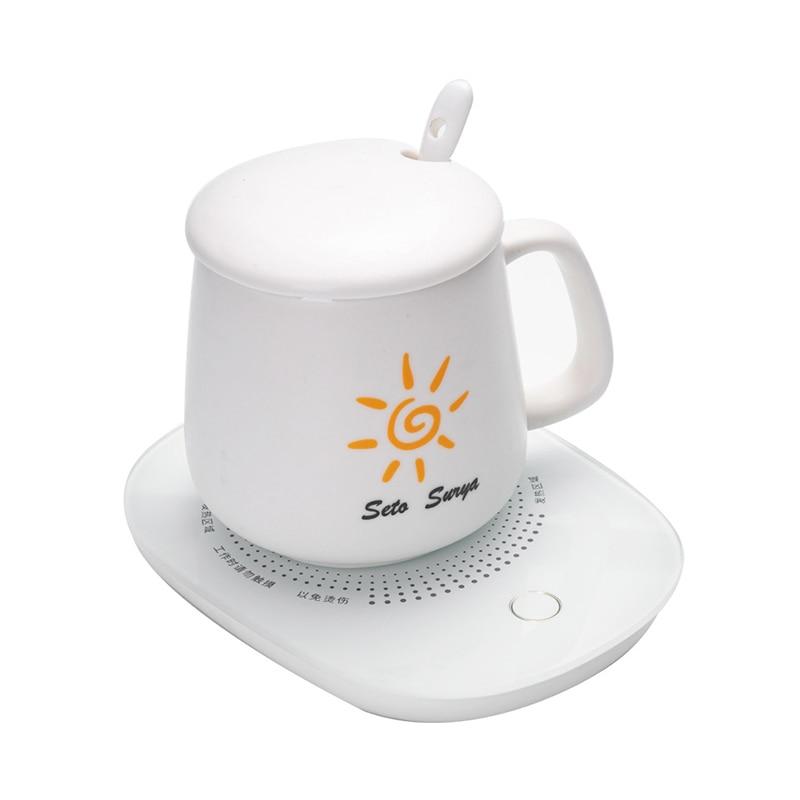 55องศาเซนติเกรดแบบพกพาถ้วยอุ่นสมาร์ทไฟฟ้าUSBถ้วยนม/กาแฟ/เครื่องดื่มเครื่องทำน้ำอุ่นถาดMatเด็กขวดอุ่น