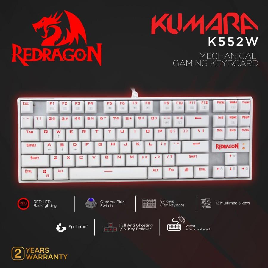 Redragon Gaming Kumara คีย์บอร์ดเกมมิ่งสีขาว - K552w