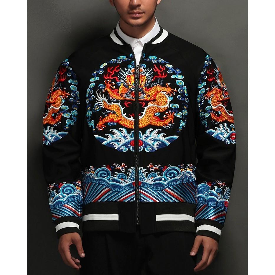 SUKAJAN  แบรนด์แท้ Baylor House Chinese  / Japanese Souvenir Jacket  แจ็คเกตซูกาจันลายมังกร