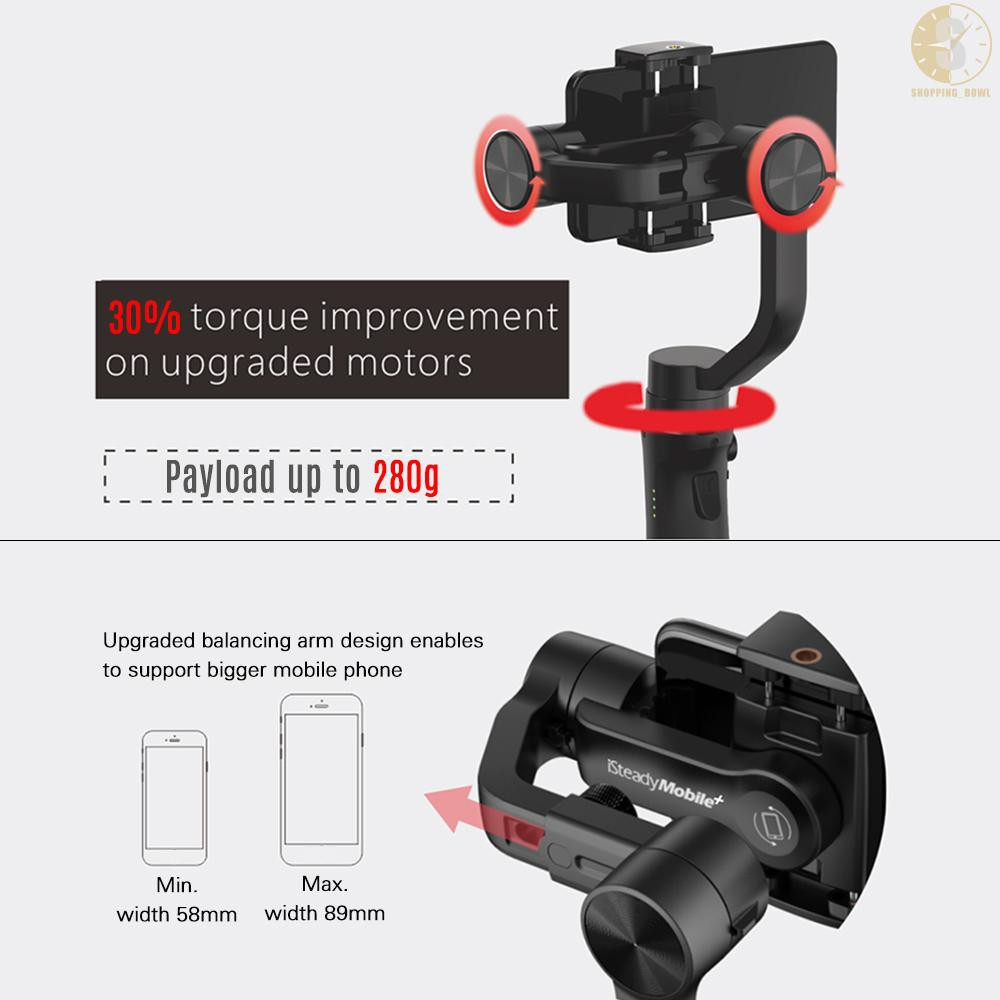 3-Axis Handhele Gimbal Support Visual Auto-Tracking Motion Timelapse Panoramic Photography Zoom Control for iPhone Samsung Huawei 58-89mm Width Smartphone Hohem iSteady Mobile