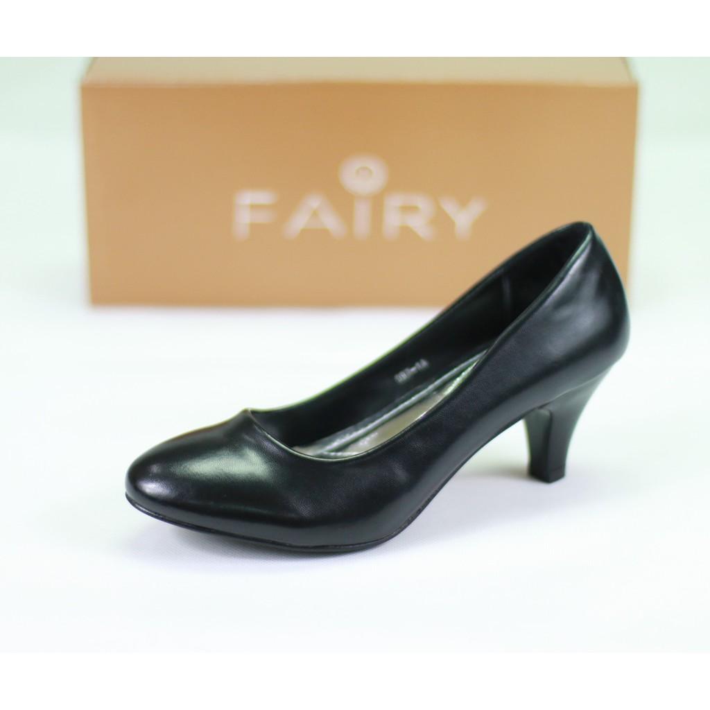 รองเท้า 097-1A,1B รองเท้าคัชชูนักศึกษา ส้นสูง สีดำ 2.5 นิ้ว FAIRY