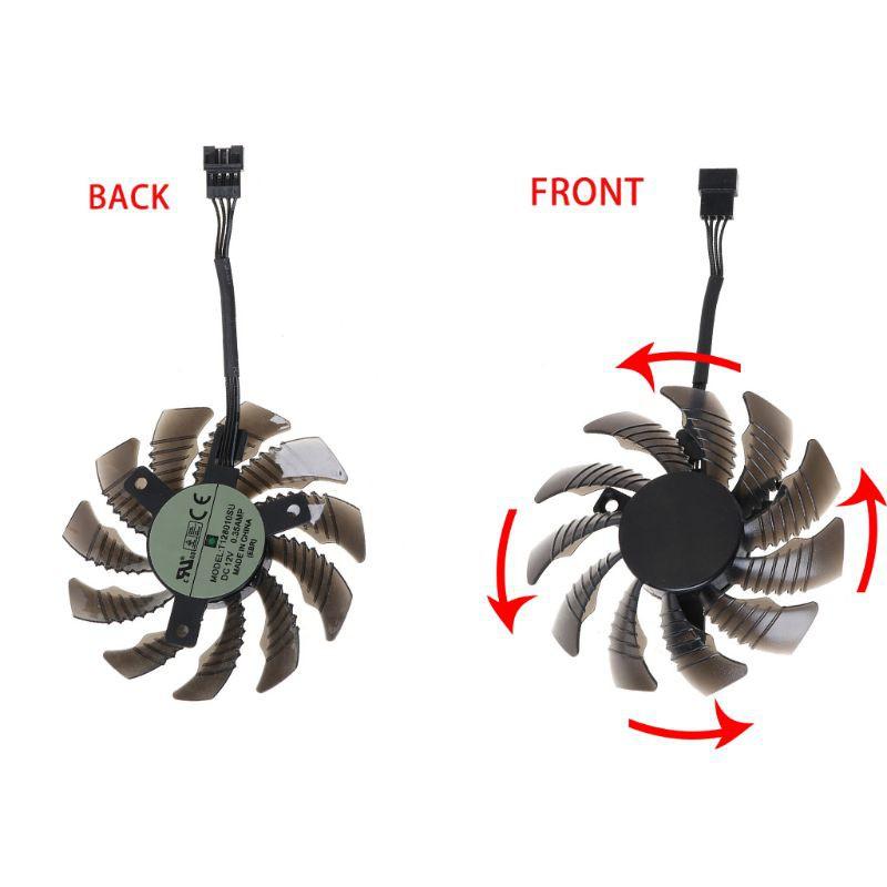 พัดลมระบายความร้อน 75 มม . T 128010 Su 4 Pin สําหรับ Gigabyte Aorus Gtx 1060 1070 1080 Card 1 / 3 ชิ้น