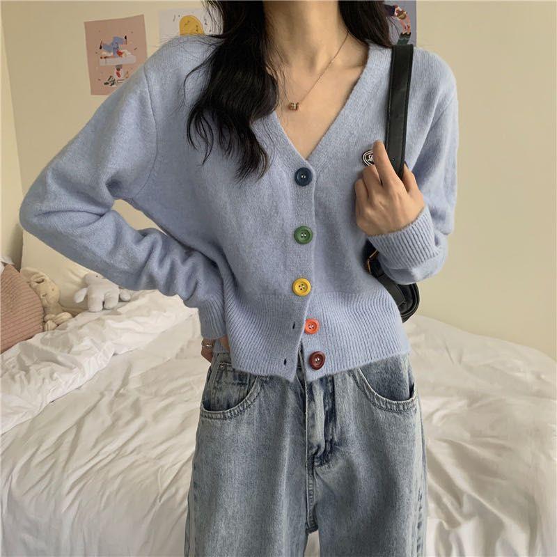 Vogue? พร้อมส่ง?เสื้อไหมพรมคอวี cardigan กระดุมหลากสีถอดได้จริง ( 5576-1/5576)