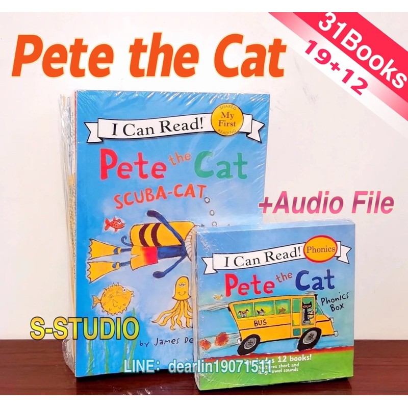 Pete The Cat 19 books+12 mini books I Can Read English Picture Books Children Story book Early Educaction Reading Book