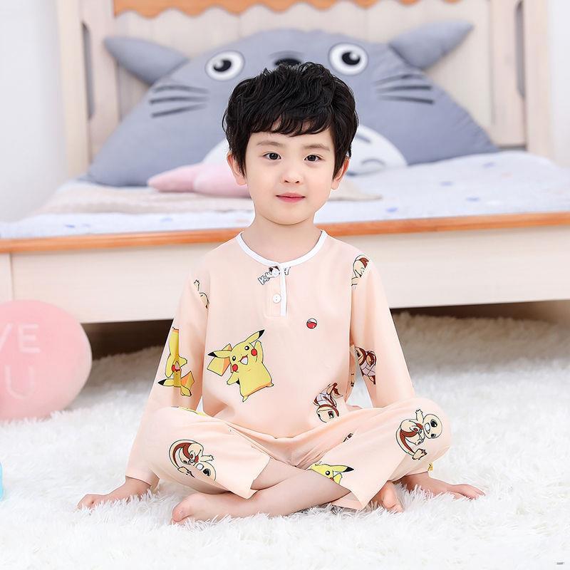 ยางยืดออกกําลังกาย✣♕✼(ชุดเด็ก)  ชุดนอนผ้าไหมผ้าฝ้ายสำหรับเด็กในช่วงฤดูร้อนเด็กทารกผ้าไหมเด็กชุดสูทแขนยาวชายและหญิงบาง บ