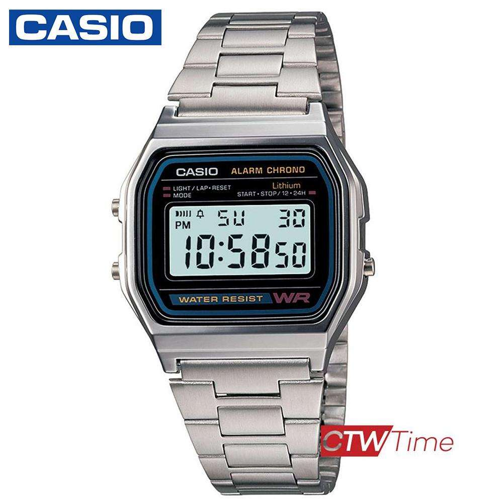 จัดส่งฟรีส่งฟรี !! Casio Digital Classic นาฬิกาข้อมือสุภาพบุรุษ สีเงิน สายสแตนเลส รุ่น A158WA-1DF