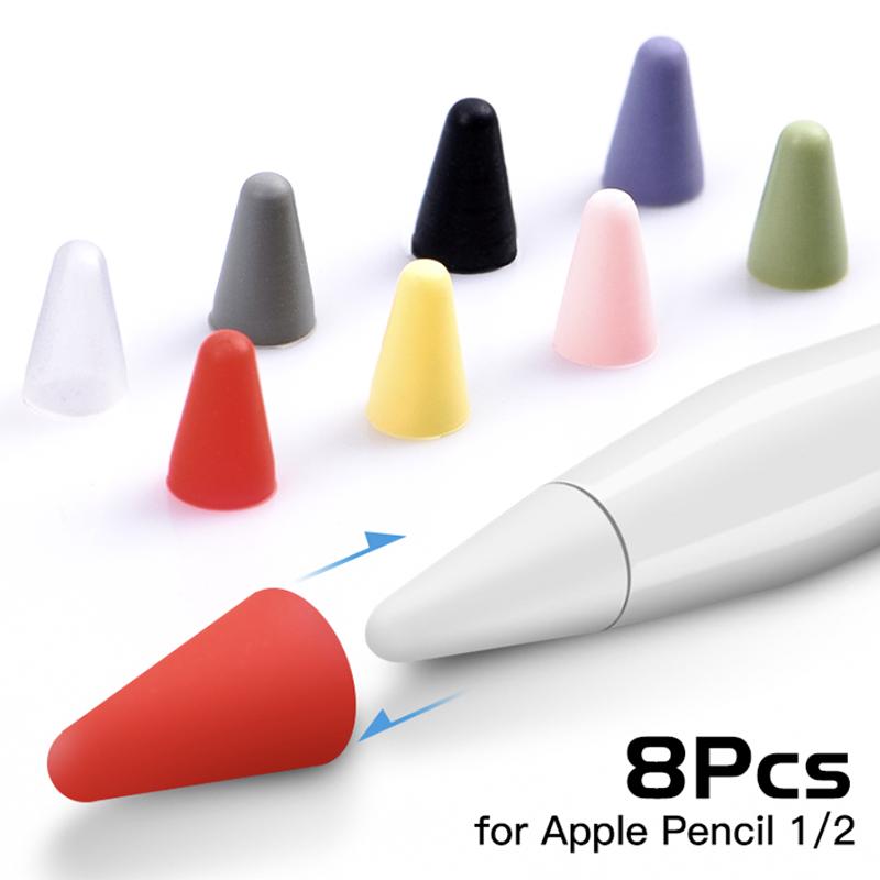 เคส 8 ชิ้นสำหรับ Apple Pencil 1 2st Pen Point Stylus ปากกาเขียนหน้าจอ ปากกาทัชสกรีน Portable Waterproof หัวปากกา Apple Pencil Stylus Pen แทบเล็ต Protector