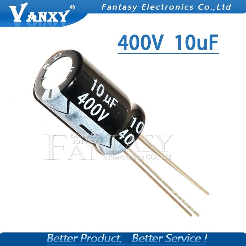 10PCS Higt quality 400V10UF 10*17mm 10UF 400V 10*17 Electrolytic capacitor
