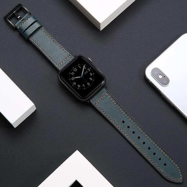 สาย applewatch เหมาะสำหรับสาย applewatch6 se หนัง Crazy Horse ซิลิโคน iwatch 5/4/3/2/1 รุ่นสายนาฬิกา Apple