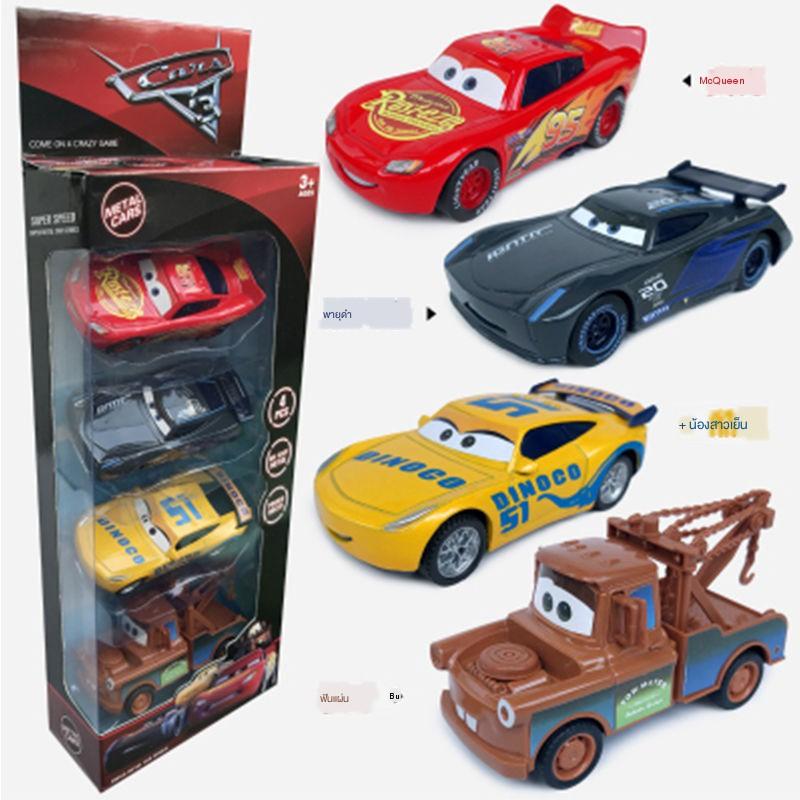 โมเดลรถเหล็ก♙☾รถบังคับทั่วไปรถล้อแม็กรุ่น Lightning McQueen Black Storm Little Racing Boy Toy Car Metal