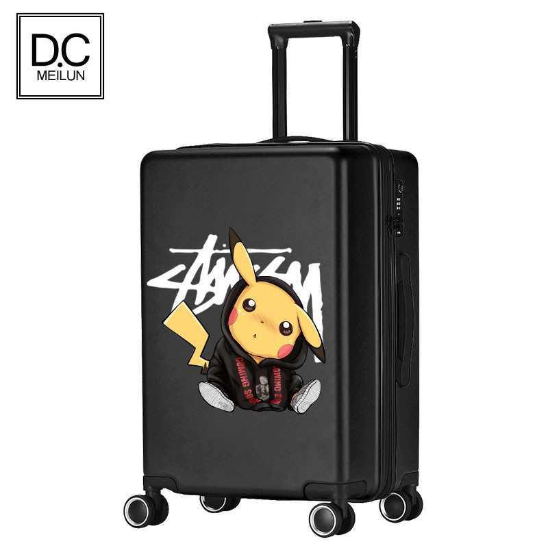 Pikachuกระเป๋าผู้ชายและผู้หญิงที่แข็งแกร่งและทนทาน20นิ้วขนาดเล็กหนารถเข็น26กล่องเดินทางล้อ24