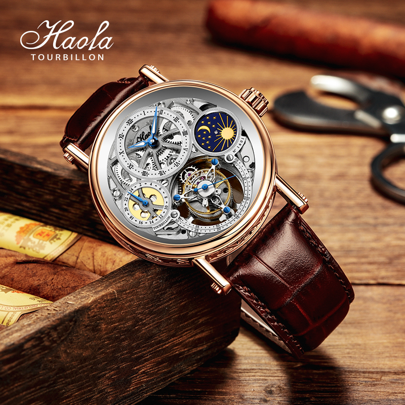 ❅ぬสายนาฬิกา applewatchสายนาฬิกา gshockสายนาฬิกา smartwatchHaofaใหม่Tourbillonนาฬิกา3Dเต็มกลวงแกะสลักส่องสว่างเข็มขัดหนัง