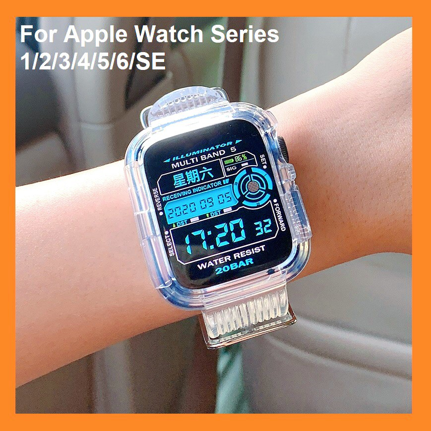 Ready Stock ! Apple Watch Strap iWatch Silicone Sports Strap 6 5 4 3, Apple Watch SE size 38mm 40mm 42mm 44mm Apple Watch Bands Transparent Rubber Band for iwatch Series6 , Series 5,Series4