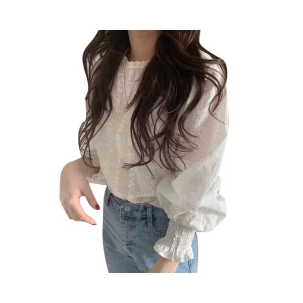 [พร้อมส่ง ของถึงไทยเเล้ว] 0901Women Loose Casual Chiffon Summer Sweet Solid Color Puff Sleeve Lace Bottoming Blouse