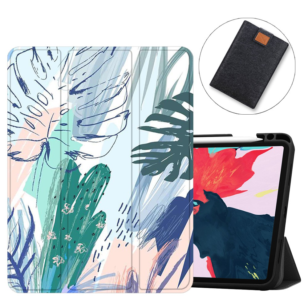 SDH Case For iPad Pro 11 inch 2nd Generation 2020 Release with Apple Pencil Holder, Soft TPU Back Shell Stand Smart Cove