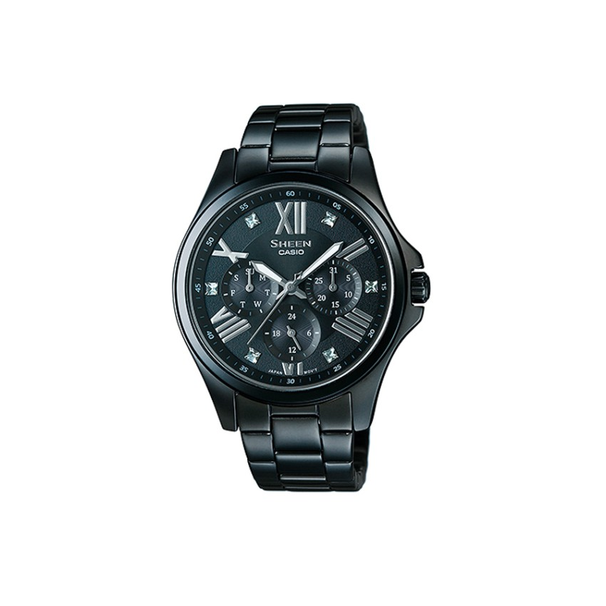 Casio Sheen Chronograph นาฬิกาข้อมือ สีดำ สายสแตนเลส รุ่น SHE-3806B-1A