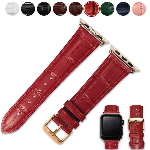 สาย applewatch fxi รูปแบบจระเข้สีแดงชั้นแรกหนัง cowhide สาย apple หญิงและชาย iwatch สาย applewatch สาย iwatch43256 หมายถ