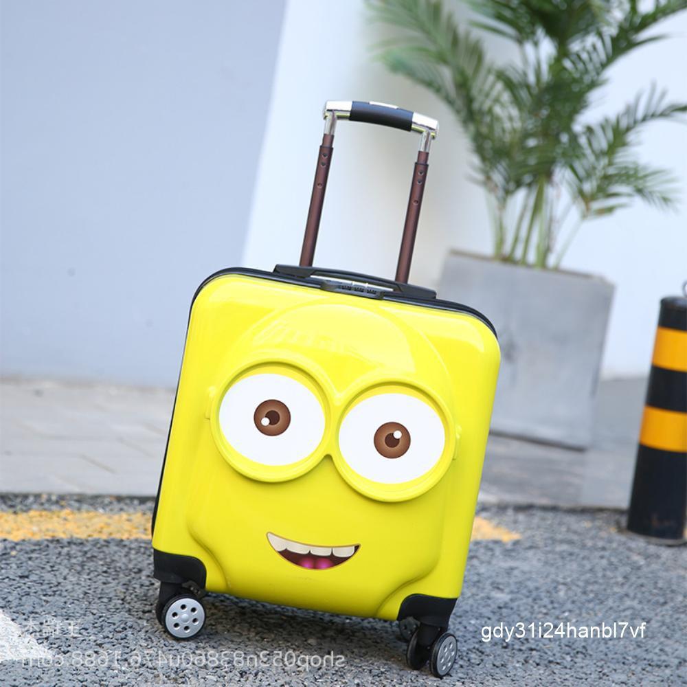18 นิ้วเด็ก 18 รถเข็นกระเป๋าเดินทางการ์ตูน 20 นิ้วกระเป๋าเดินทางกระเป๋าเดินทางกระเป๋าเดินทางคนสีเหลืองโลโก้ที่กำหนดเอง