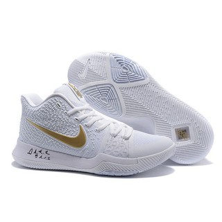 newest a4961 0c422 SHIPPING🔥Original YM*YK*White Ice Nike Kyrie 3 White/Gold Mens Basketball  Shoe