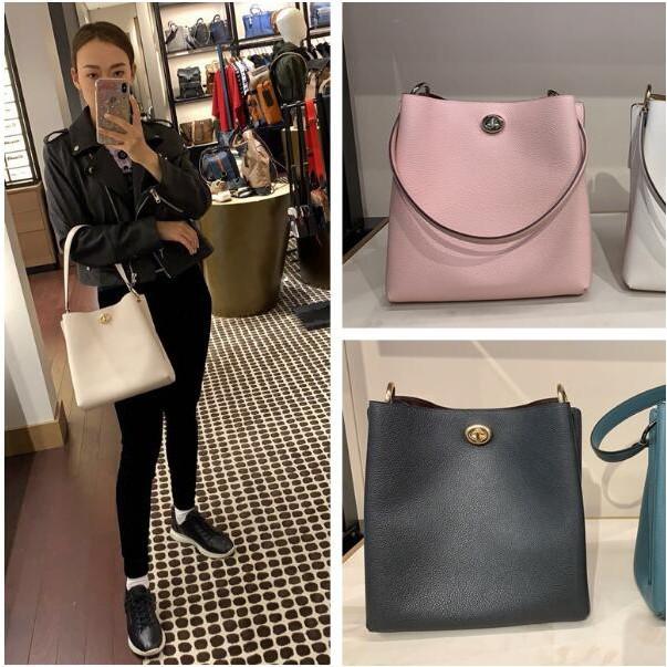 [AQ]พรีออเดอร์ Coach 55200 new leather girls bag Vertical series Charlie bucket bag Women's bag กระเป๋า