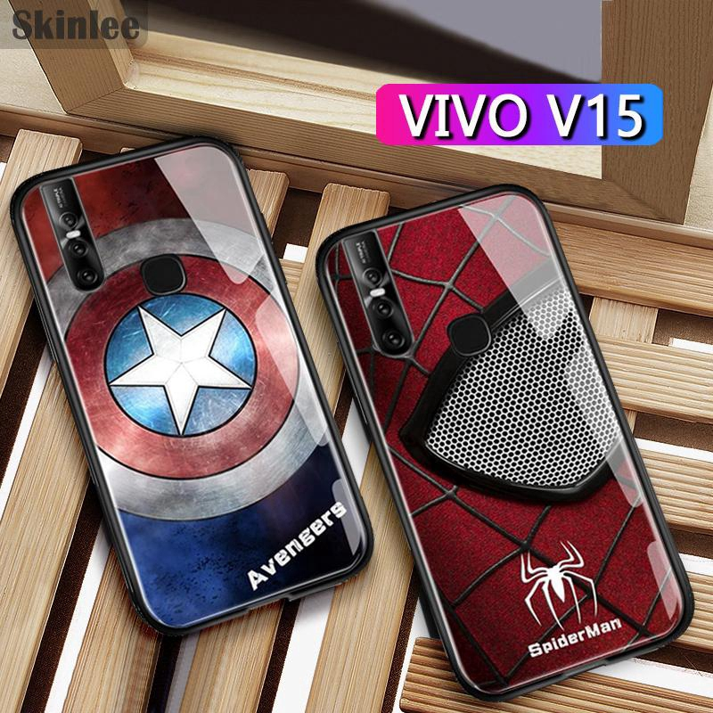 VIVO V15 Case Iron Man Captain America Tempered Glass Case