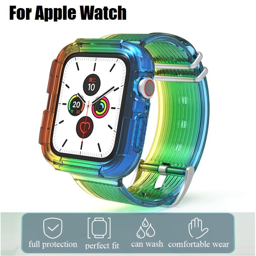 Apple watch Straps Case Iwatch Rainbow soft Silicone Sports Watchband applewatch 6 5 4 3, Apple Watch SE size 38mm 40mm 42mm 44mm Transparent Rubber Strap
