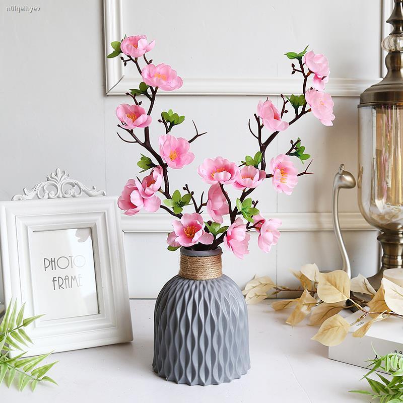 การจำลองพันธุ์ไม้อวบน้ำ✵>ตกแต่งดอกไม้ปลอมในห้องนั่งเล่นและห้องนอนตกแต่ง พลาสติกจำลองช่อดอกไม้แห้งขนาดเล็ก กระถางบ้านโต๊ะ