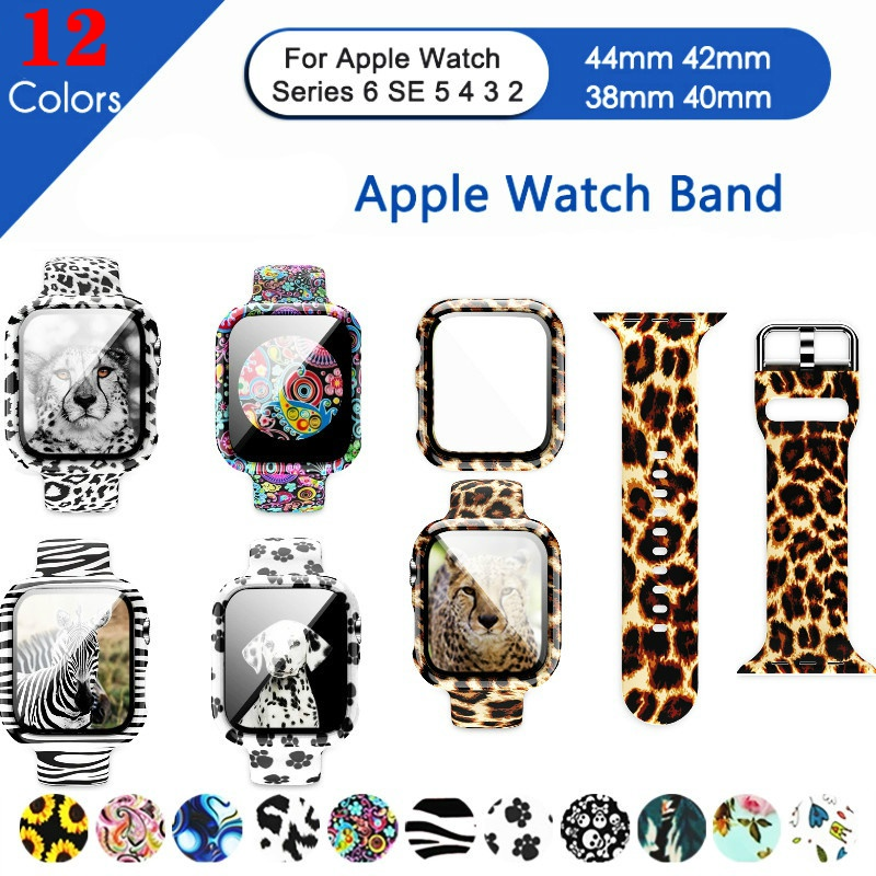 【Ready stock】Apple Watch leopard print strap + case, tempered glass film wrist strap, sports print strap bracelet, suitable for Apple Watch Series 6 5 4 40mm 44mm iWatch Band SE 3 38mm 42mm