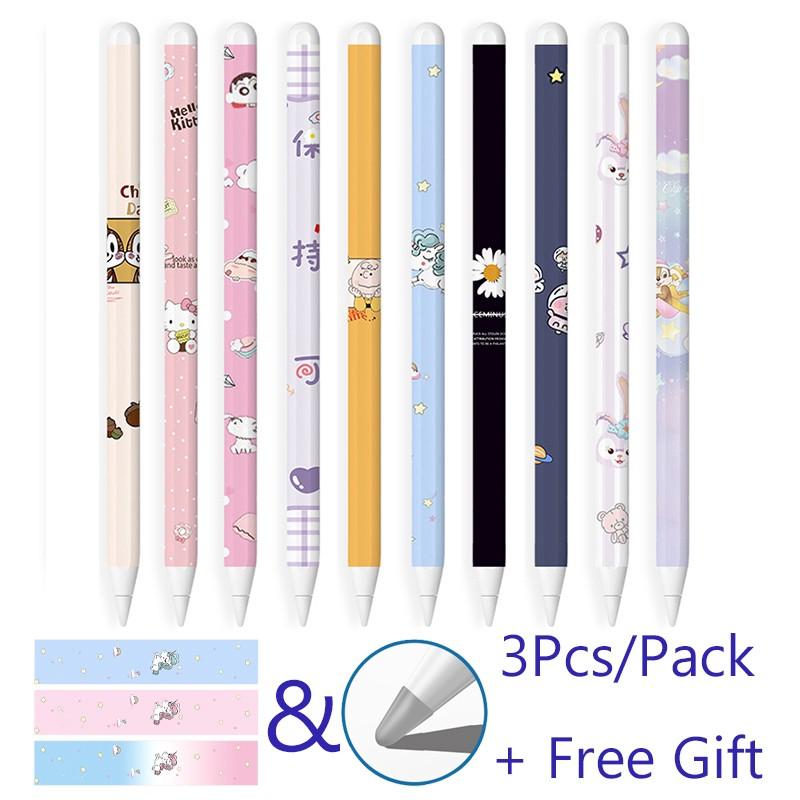 3 Pcs Apple Pencil Gen 2 Stickers iPad Pen Protective Paper Ultra Thin Cartoon Painted Touch Stylus pen Sticker