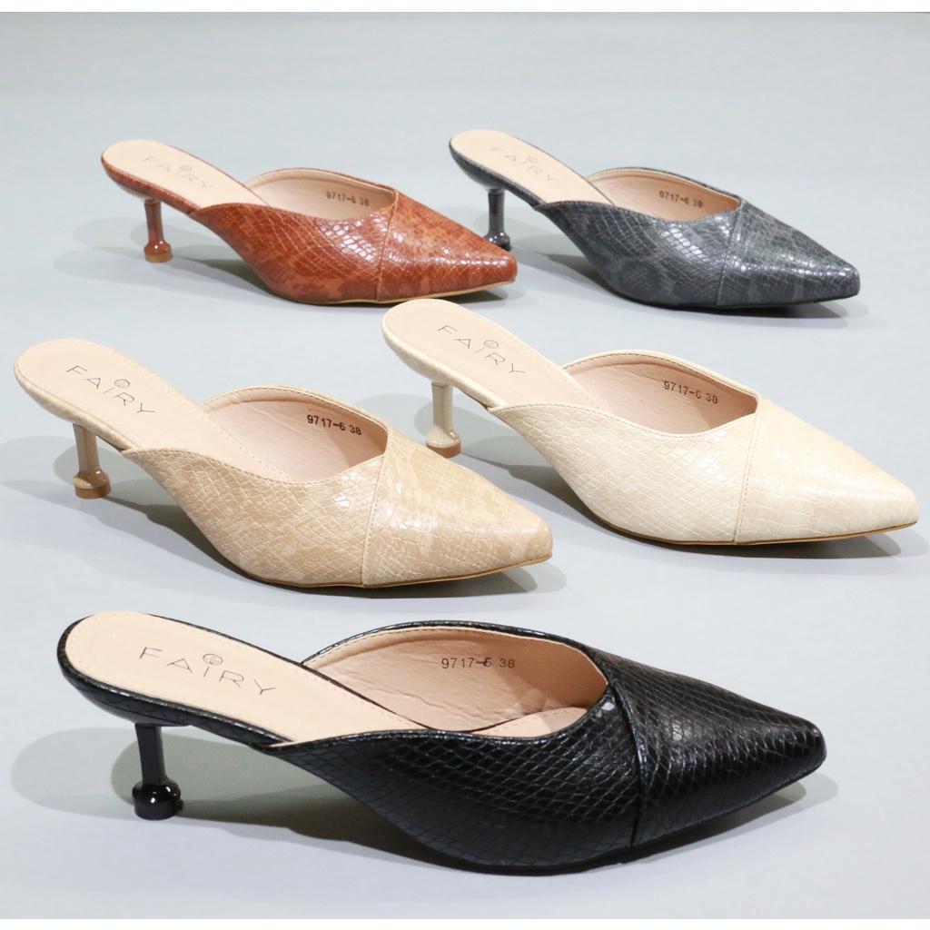 """9717-6 คัชชูเปิดส้นสูง 2.5""""   รองเท้าคัชชูหัวแหลม เปิดส้น ส้นสูง แฟชั่นรองเท้ารัดส้น"""