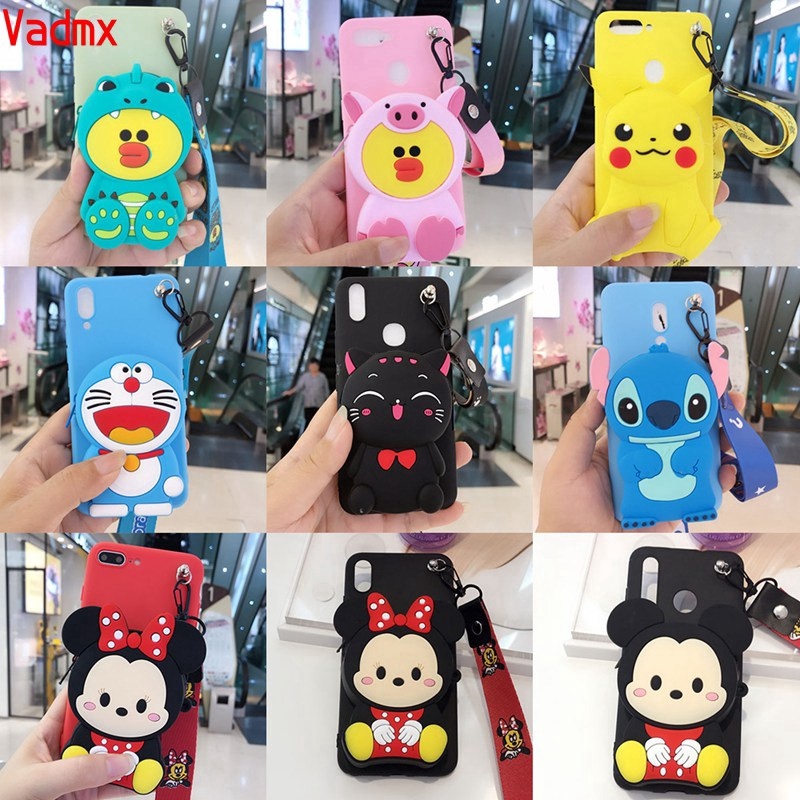 For Samsung Galaxy A9 Pro 2016 A6+ Plus J8 2018 S9 Plus S9 Case Doraemon Stitch Cartoon Zipper Wallet Soft Minnie Cover