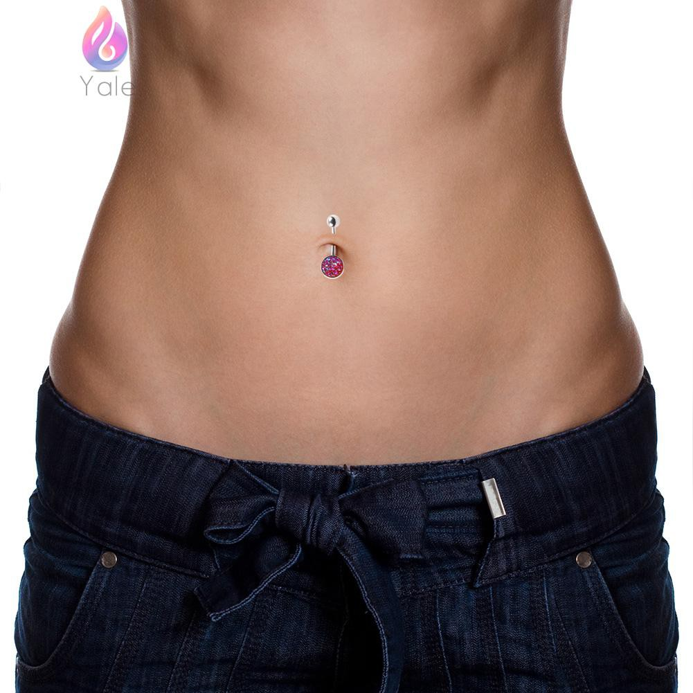 Handcuff Belly Button Ring Crystal Rhinestone Navel Bar Body Piercing Jewelry JX