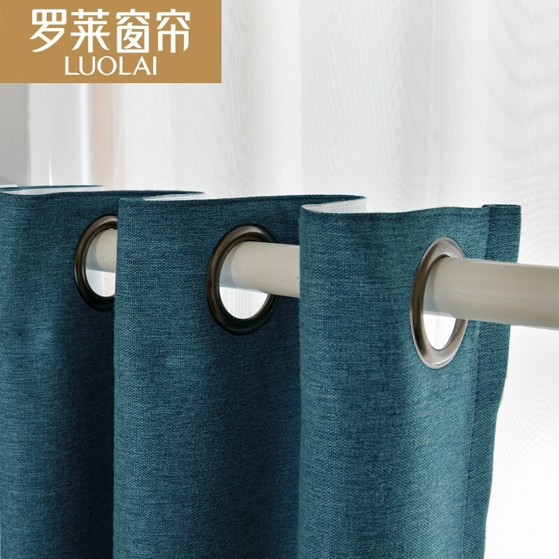 ผ้าม่านฟรีเจาะติดตั้งสำเร็จรูปห้องนอนที่เรียบง่ายอ่าวหน้าต่างผ้าม่านระเบียงม่านบังแดดผ้าม่านเสา สีฟ้าเบรคบลูเลือกซื้อและ