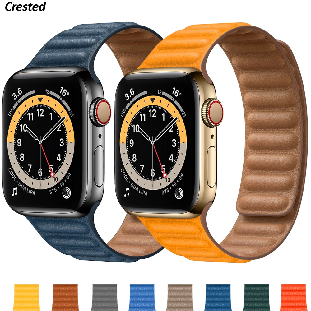 Silicone/Leather Link For Apple watch band 40mm 44mm 42mm 38mm 42 mm 1:1 Magnetic Loop bracelet iWatch series 6 5 4 3 SE