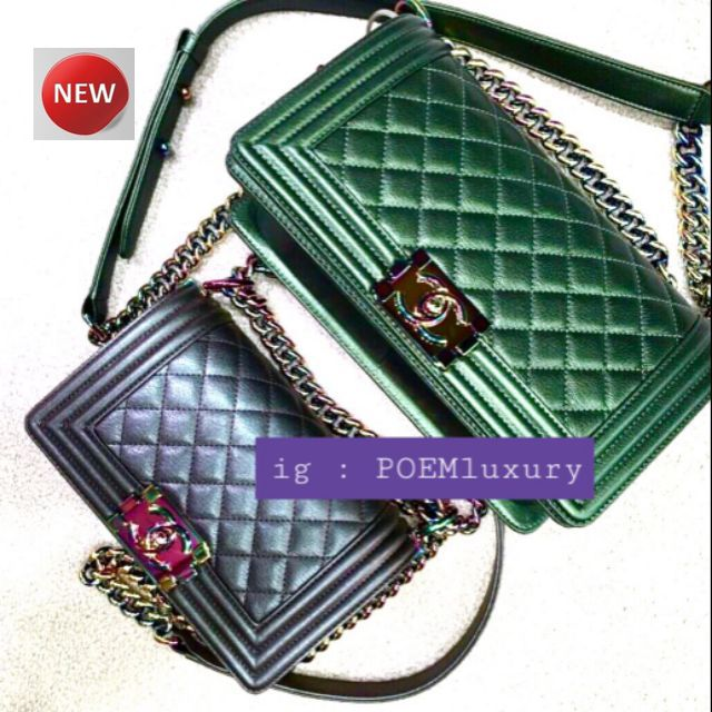 Rare item ! Chanel Boy8 / 10 / 11 lridescent rainbow Hardware goatskin price : 179,999฿-199, 999฿