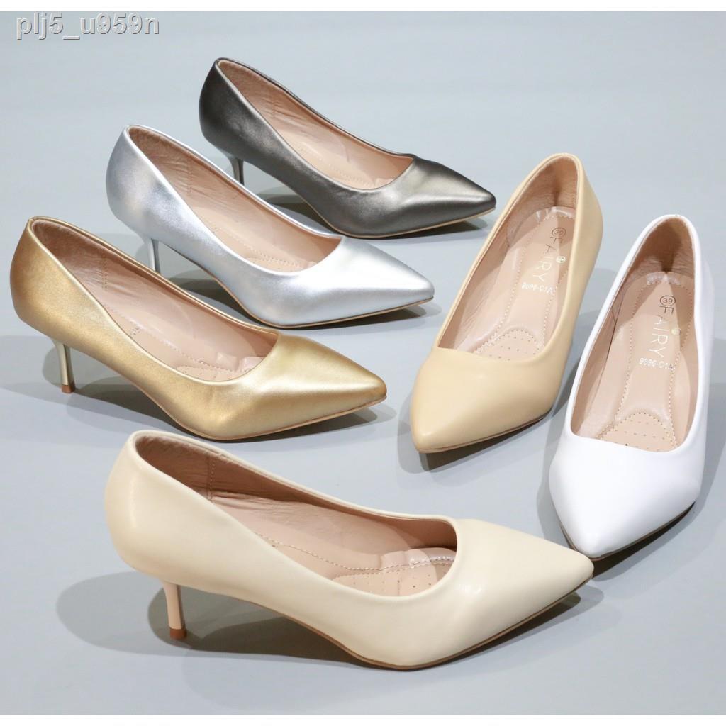 รองเท้าผู้หญิง⊕รองเท้าส้นสูง 9696-C1A รองเท้าคัชชูส้นสูง  รองเท้าคัชชูหัวแหลม 2.5 นิ้ว FAIRY