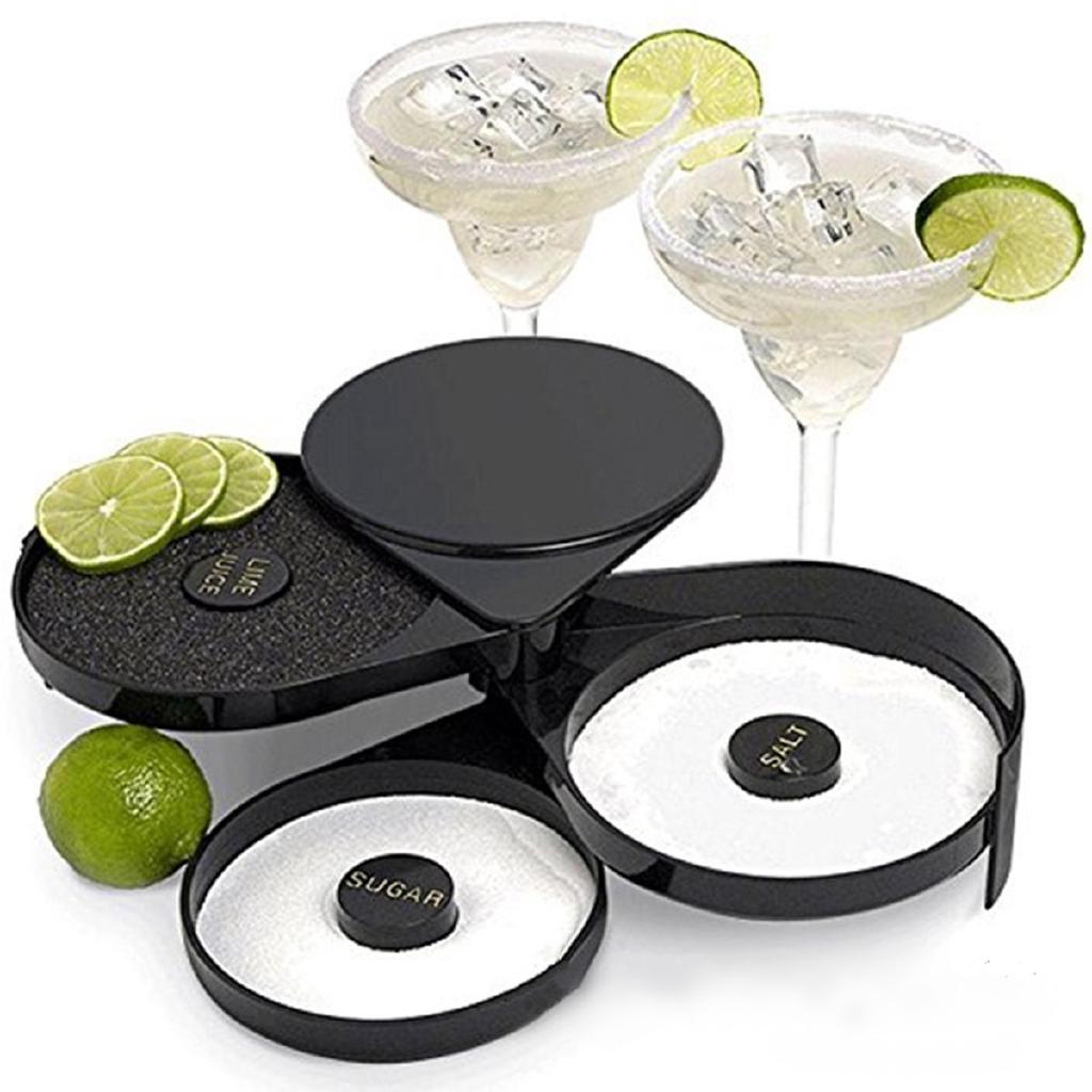 Cocktail Margarita Glass Rimmer 3 Tier Sugar Salt Rim Lime Bar Bartender Tools