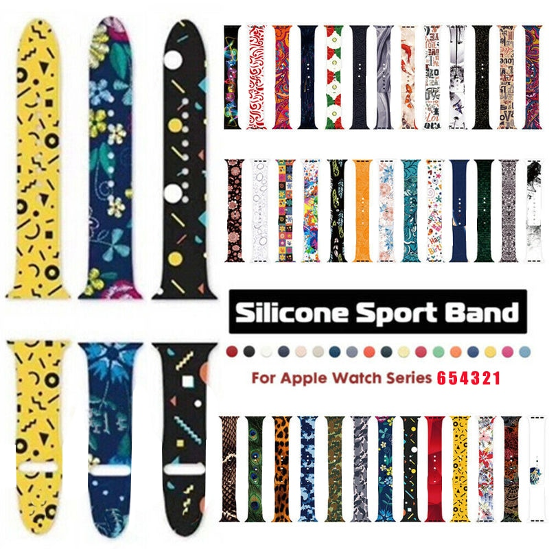 Silicone Sports Band for Apple Watch Series 6 5 4 3 2 1 Pattern Printed Wristband for IWatch Band 40mm 44mm 38mm 42mm Br