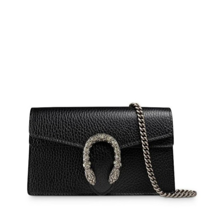 Free shipping Gucci Dionysus Leather Super Black  Mini Bag