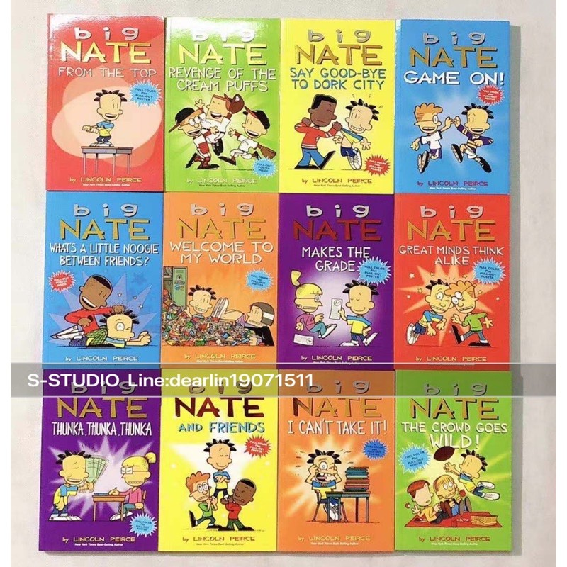 จัดส่งทุกวัน Big Nate Full Colour Illustrated Comic Books Set by Lincoln Peirce (12 books)