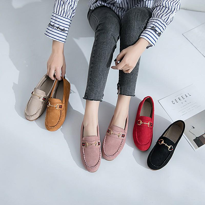 รองเท้าคัทชูผญ รองเท้าสลิปออน รองเท้าผู้หญิง รองเท้าลำลอง รองเท้าคัชชู รองเท้าแฟชั่นผู้หญิงสีทึบผู้หญิงกลางแจ้ง 040707