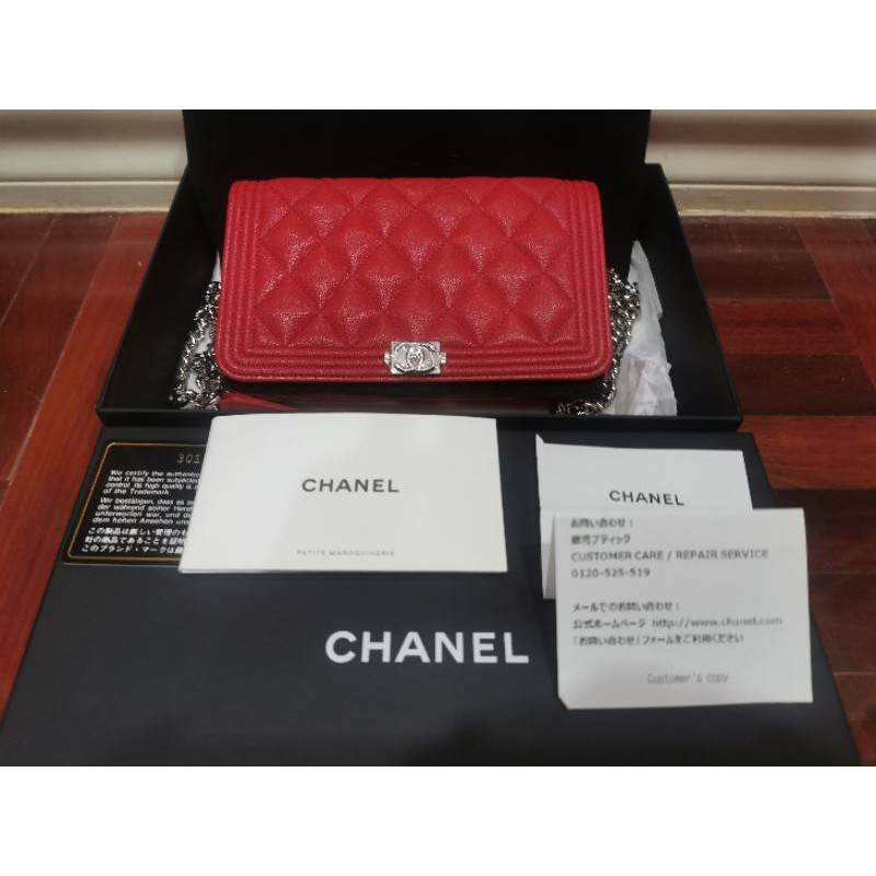 Chanel WOC Holo 30 หน้า Boy สีแดง อุปกรณ์ครบพร้อมใบเสร็จ