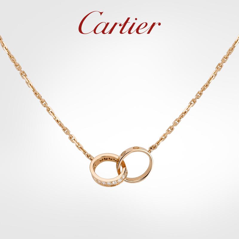 ขายCartierCartierLOVEชุด กุหลาบทองทองคำขาวเพชร Bicyclic สร้อยคอ