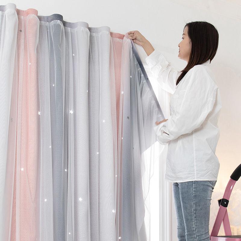 ขายร้อนสุทธิสีแดงฟรีเจาะผ้าม่านกาวในตัวผ้าสำเร็จรูปอ่าวหน้าต่างห้องนอนVelcroห้องนอนให้เช่าผ้าม่าน