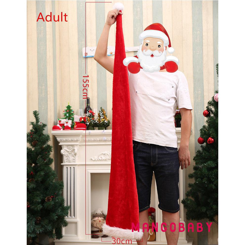 Christmas Unisex Super Long Santa Hat Xmas Costume Adults Kids Party Wear Cap