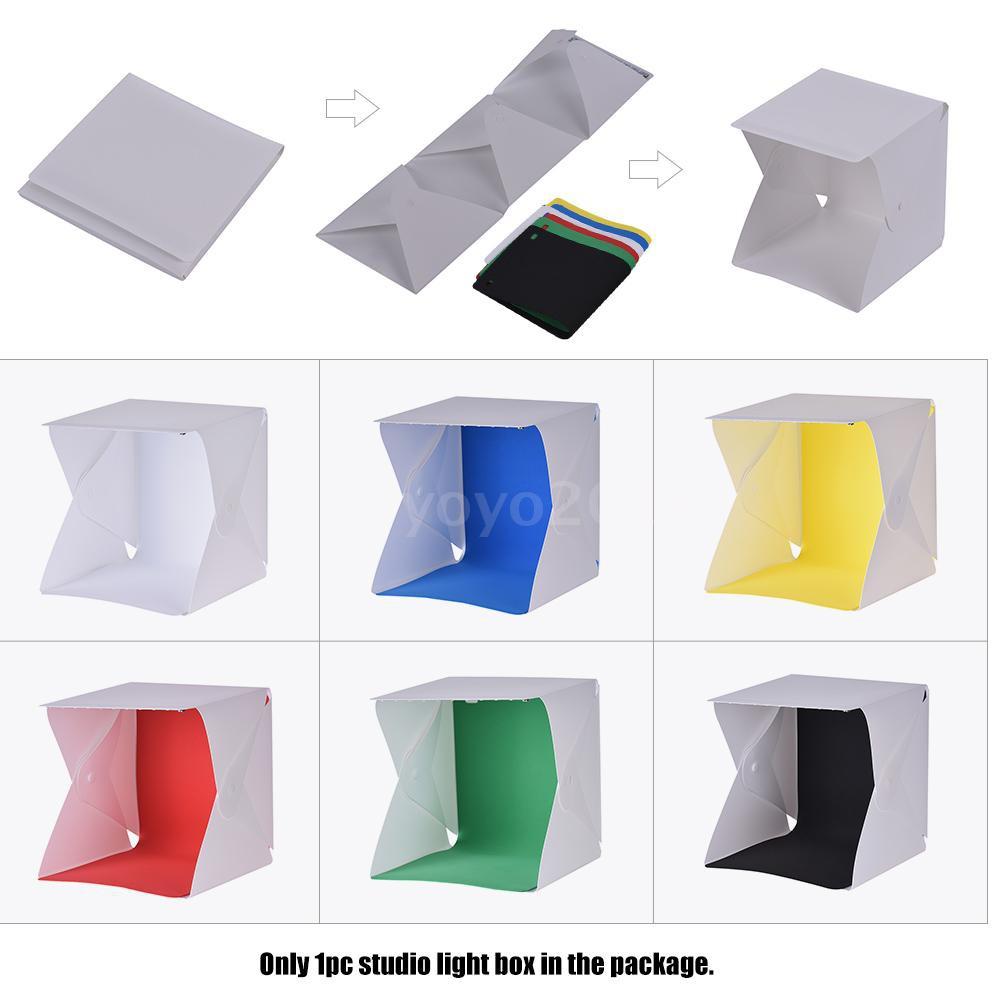 Portable DIY LED Studio Light Box Tent Kit Mini Foldable Photo Studio  Softbox 6500K with Built-in 1pc LED Strip 6 Differ