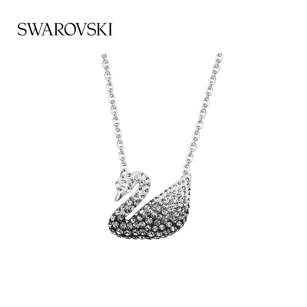 Swarovski สร้อยคอจี้หงส์ขาวดําและสีขาวขนาดใหญ่